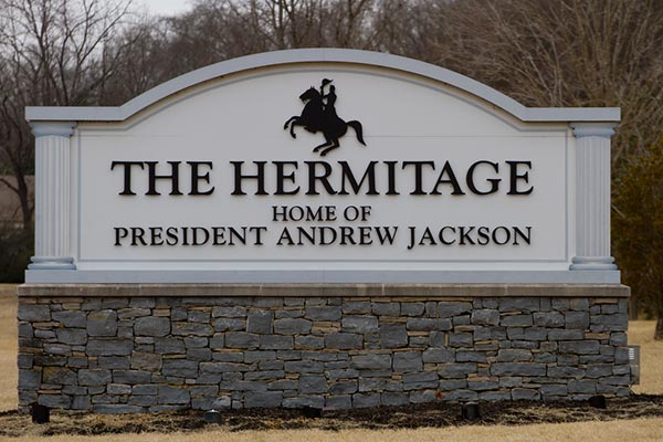 Hermitage sign, Andrew Jackson's home. Edgehill Tennessee. Reliant Realty